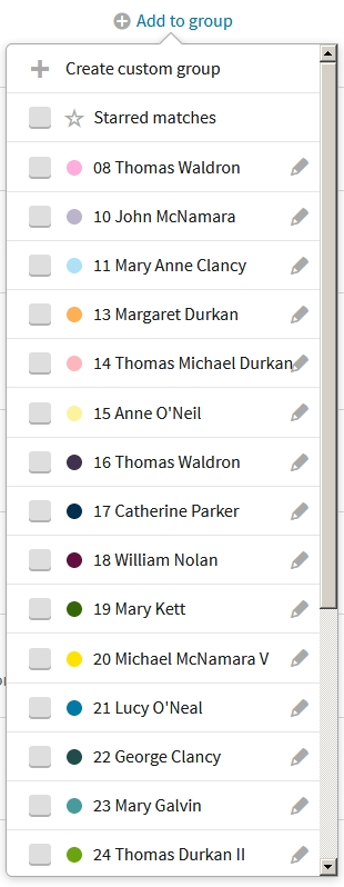 Paddy Waldron's first 17 AncestryDNA custom groups